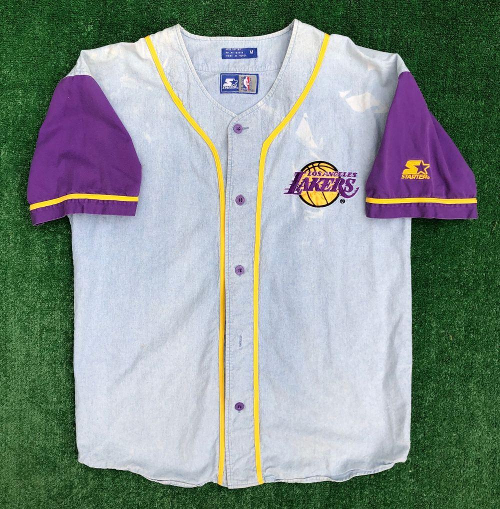 90's Los Angeles Lakers Starter Denim NBA Baseball Jersey Size ...
